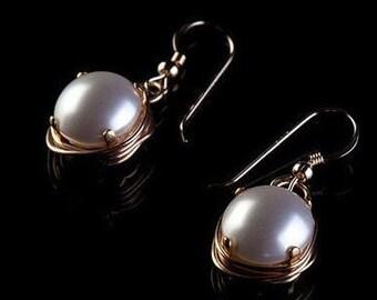 CIJ Sale -  Pearl earrings dangle pearl drop earrings gold  dangle Pearl  Bridal earring Wedding Jewelry, inexpensive bridesmaid gifts