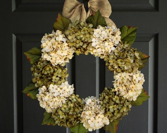 Beautiful Green & Cream Hydrangea Wreaths | Summer Wreath | Front Door Wreath | Summer Wreath | Outdoor Wreath | Door Wreath | Winter Wreath