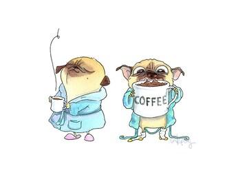 Coffee Pugs Art Print - Cute Pug Home Decor, Pug Kitchen Art, Coffee Art, Pug Art from Original Pug Illustration by InkPug!
