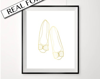 Gold fashion print, ballet flats, Shoes, gold shoes, bedroom print, stylish shoes, fashion poster, prints for walk in closet, bathroom