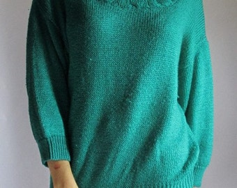 SALE! Vintage 80s Knit Sweater| Size Small to Large| Chunky Sweater, 1980s Sweater, Teal Sweater, Classic, Hipster, Preppy