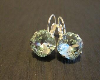 Light Azore Swarovski Crystal Earrings/Bridesmaid Earrings/Ice Blue Crystal Earrings/Wedding Jewelry/Bridesmaid Jewelry/Pale Blue Crystal