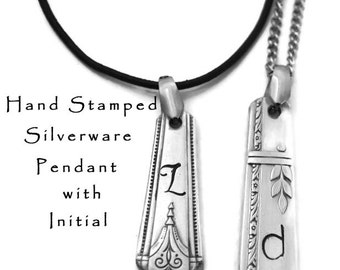 Initial Necklace Hand Stamped Silverware Handle Pendant Bridesmaid Jewelry Engraved Personalized Spoon Necklace Gifts Under 25 Initial