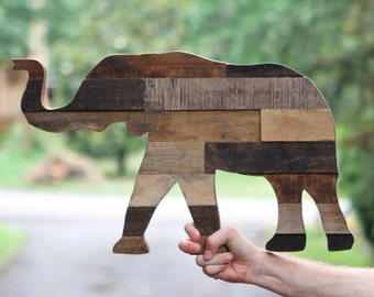 Rustic Wooden Elephant Silhouette