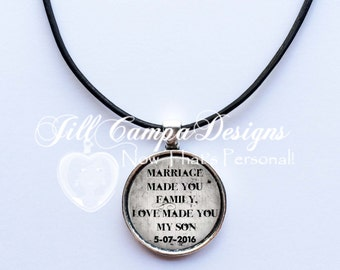 """Gift for Teenage Stepson """"Marriage made you family, Love made you my son""""- leather cord necklace - gift for stepson of bride, groom"""