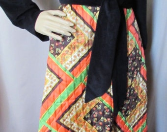 1970 Lounge Outfit Quilted Patchwork Dress Black Velour Top Orange Brown Dress Mid  Century Lounger Long Dress Evelyn Pearson Lady Fashions