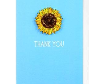 Thank You Sunflower Personalised Greeting Card