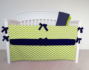 FREE SHIPPING - 4 Piece Crib Set - Chevron crib set, green chevron, chevron crib bedding, green zig zag