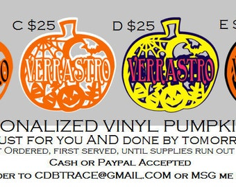 """Personalized 11.5"""" Vinyl Wall or Window Pumpkin Halloween Decals"""