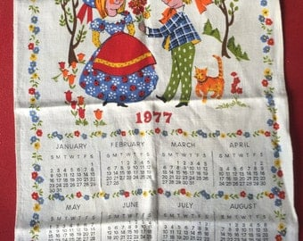 "Vintage Linen Calendar CHappiness is  27"" x 32"""