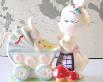Vtg. 1950's Ceramic Bunny and Babies figurine. Bright Toadstools.