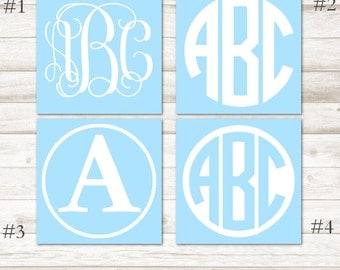 White Monogram Decal – White Vinyl Decal – White Vinyl Monogram – White Monogram Yeti Decal – White Car Decal -White Personalized Decal D222