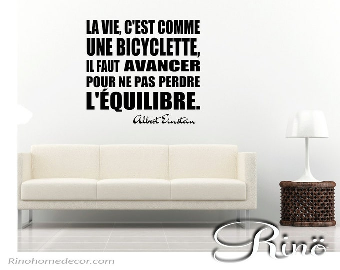 Albert Einstein quote Bicyclette Bicycle French Wall Decal Vinyl sticker Français / home decor, french quote, wall saying, wall art