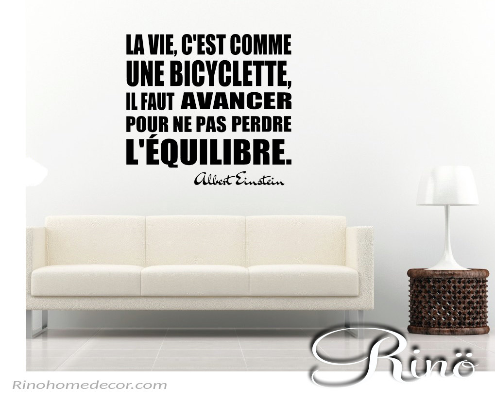 Albert Einstein Quote Bicyclette Bicycle French Wall Decal Vinyl - Custom vinyl wall decals saying