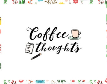 Coffee Blog Header and Logo Design - Web & Print Files - Limited Edition! Perfect For Blogger, Writing or Lifestyle Blog, Planner + more