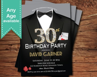 Casino Theme Invite Etsy - Black and white 30th birthday party invitations
