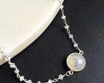 Lana - Rainbow Moonstone Delicate Sterling Silver Rosary Choker Necklace. Choker Necklace. Rosary. Rainbow Moonstone Rosary.