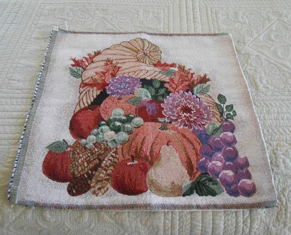 Brocade Harvest Scene Fabric Square Cornucopia With Fall Fruits and Flowers, DIY Pillow Project