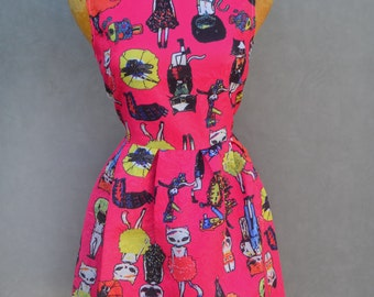 Cat Print Party Dress