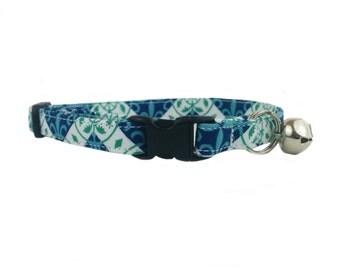 Blue Geometric Vines Cat or Kitten Breakaway Safety Collar
