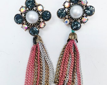 Tassel  Earrings , Wedding Earrings, modern style earrings, Multy color Earrings, Evening Earrings, Rhinestone Earrings, Bijouterie,