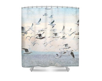 beach shower curtain bird shower curtain seagulls pastel bathroom bathroom decor