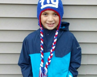 New York Giants Handmade Crocheted Hat! NY Giants Winter Hat!