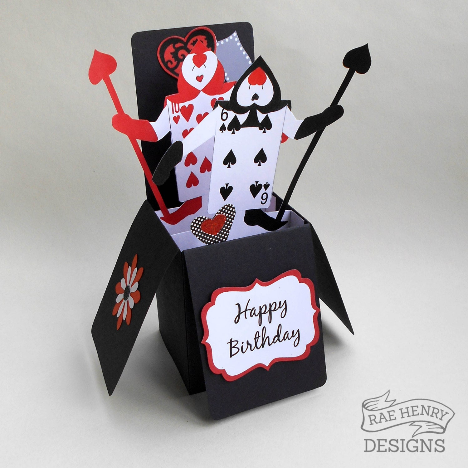 alice in wonderland birthday card pop up 3d box playing cards