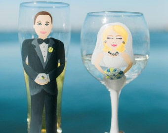 Bride and Groom Wine Glass or Pint Glass Set