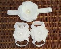 White Shabby Chic Barefoot Sandals & Headband Set- Gorgeous Headband and barefoot set - Newborn to young Teen