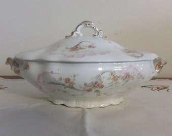 Antique Powell Bishop & Stonier Imperial Semi-Porcelain Covered Tureen/Casserole with Lid