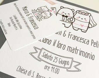 BEARS Fall In Love-Wedding Invitation + Envelope + Participation