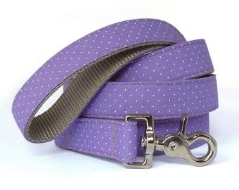 Purple Polka Dot Dog Leash - Purple Dog Leash - Dog Lead - Easter Dog Leash - Dog Leash for Spring - 4ft , 5ft and 6ft Lengths