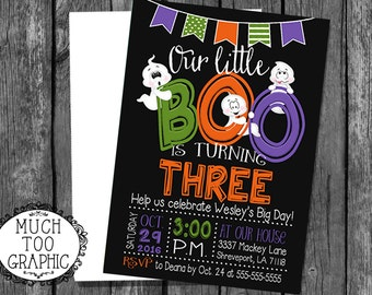 Halloween Birthday Invitation - Ghost Invitation - Little Boo Birthday Party - Fall Birthday Invitation - Ghosts Black and Orange