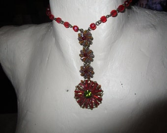 """vintage 15""""dark metal choker necklace with assorted beads droplet 3"""" extends 2.25"""""""
