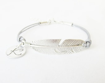 Silver Feather Leather Bracelet, Feather Bracelet, Personalized Initial Bracelet, Custom Colors and Sizes, Feather Jewelry, Gifts For Her