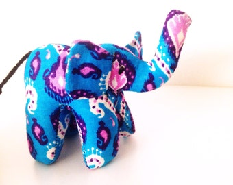 "Small Elephant #1212b made by Ugandan Disabled Women. 4"" height and 5"" wide"