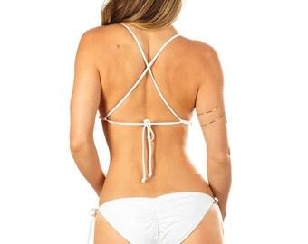 Jayne Braid Moderate Scrunch Bikini Bottom - White