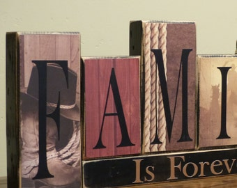 Western Home Decor Word Blocks Family Blocks Country Letter Blocks Rustic Distressed Family Decor Family is Forever Wood Block Western Decor