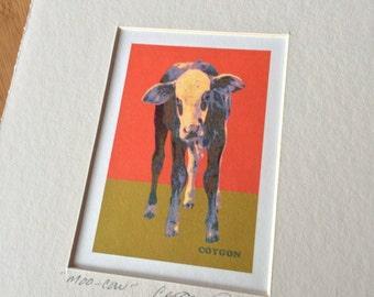 SOLD Moo Cow art print orange matted Coygon