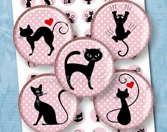"""Cute Cat bottle cap images 1 inch circle kitten Digital Collage Sheet instant download cabochon 30mm 25mm 1.25"""" 1.5"""" round printable drawing"""