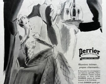 PERRIER vintage ad, French mineral water advertising, 1939 magazine ad, Perrier the champagne of mineral water. Perrier poster, vintage ad