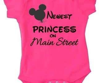 Newest Princess On Main Street Disney Baby Creeper Body Suit with 3 Snap Closure / First Disney Vacation / Baby Disney / Baby Disney Gift