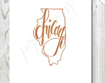Chicago, Illinois Watercolor Print  /  8 x 10 INSTANT DOWNLOAD