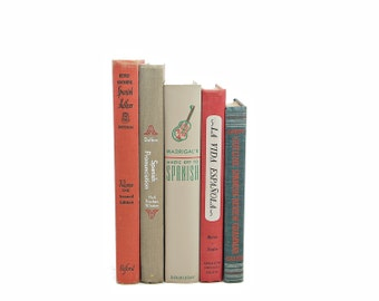 SPANISH Schoolbooks, 1940s Old Decorative Books, Antique Book Collection, Dorm room Decor, Book Decor, Instant Library,orange red books