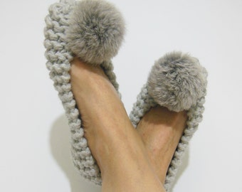 Gray Knitted Slippers, REAL or FAUX Fur Pom Poms, Women's Slippers, Chunky Wool Slippers, Non-SLIP Ballet Flats, Gift Wrapped, Home Shoes