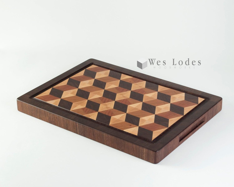 Laminboard Board Block ~ D tumbling block wood end grain cutting board with juice