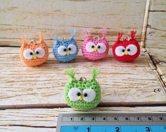 Cute Baby Owl Amigurumi Keychain *GREEN*