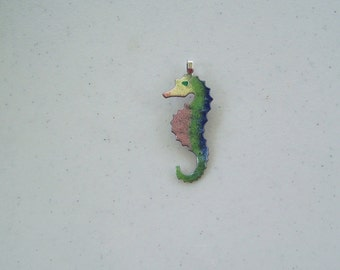 Green pink yellow blue enameled seahorse pendant necklace jewelry