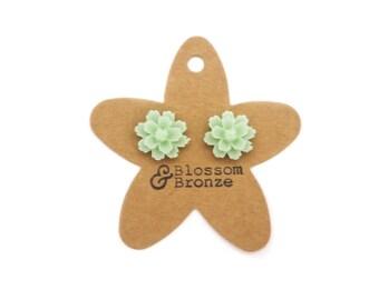 Mint Green Flower Studs | Studded Earrings